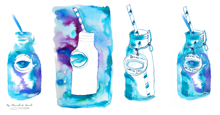 Milk Bottle Blue