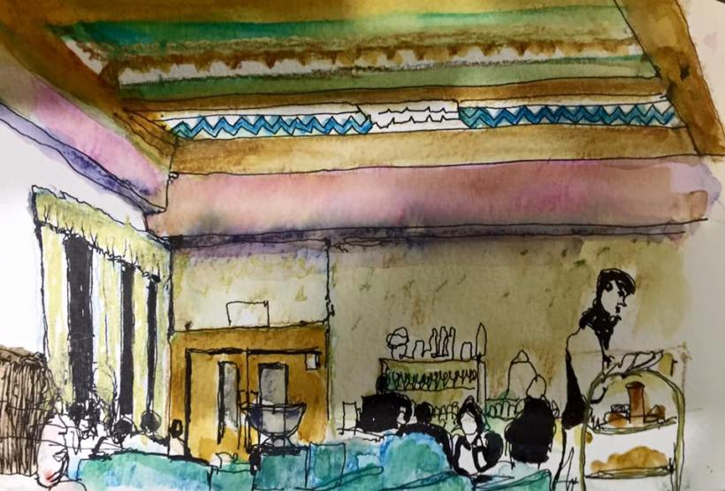 Plaza Cafe Illustrated by Liz Akerley