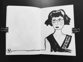 Black and White Vintage Brush PenLadies